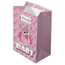 Pink Baby Polka Dotted Owl Medium Gift Bag