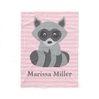 Pink Baby Raccoon Fleece Blanket
