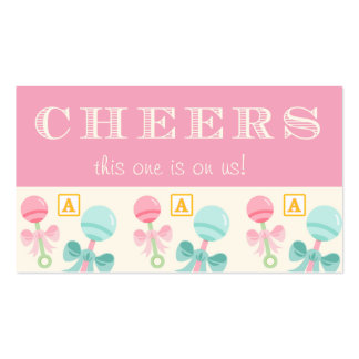 Pink Baby Rattle Baby Shower Drink Ticket Double-Sided Standard Business Cards (Pack Of 100)