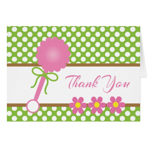 Green Baby Gifts Uk : Pink baby rattle green white dots gift card zazzle