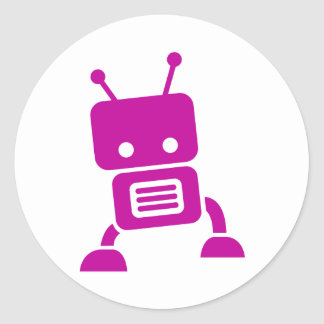 Pink Baby Robot Stickers