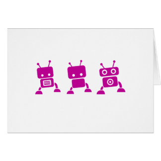 Pink Baby Robots Greeting Cards