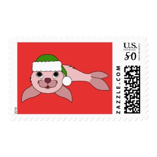 Pink Baby Seal with Green Santa Hat Postage