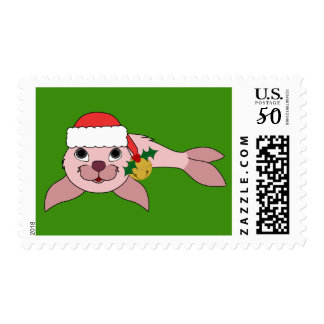 Pink Baby Seal with Santa Hat & Gold Bell Postage