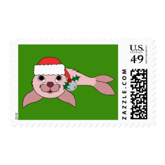 Pink Baby Seal with Santa Hat & Silver Bell Postage