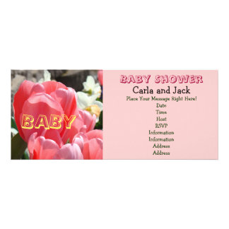 Pink Baby Shoer Invitations Spring Tulips