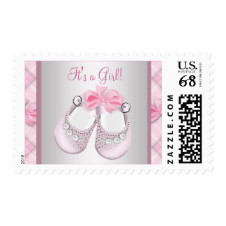 Pink Baby Shoes Baby Girl Postage Stamps