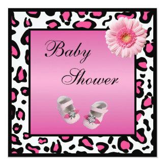 Pink Baby Shoes Gerbera & Animal Print Baby Shower Invitation