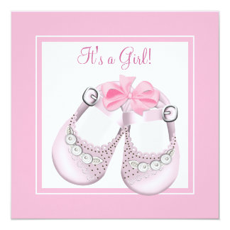 Pink Baby Shoes Pink Baby Girl Shower Announcement