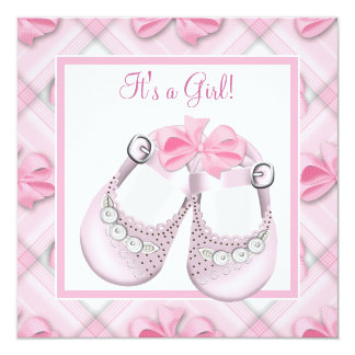 Pink Baby Shoes Pink Baby Girl Shower Custom Invites