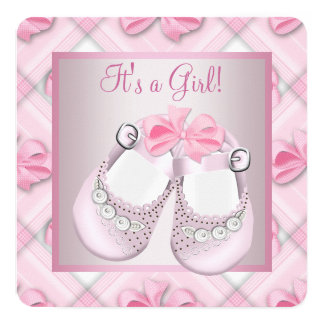 Pink Baby Shoes Pink Baby Girl Shower 5.25x5.25 Square Paper Invitation Card