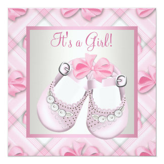 Pink Baby Shoes Pink Baby Girl Shower Personalized Announcement