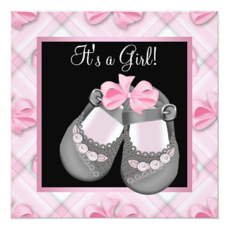 Pink Baby Shoes Pink Black Baby Girl Shower Invite