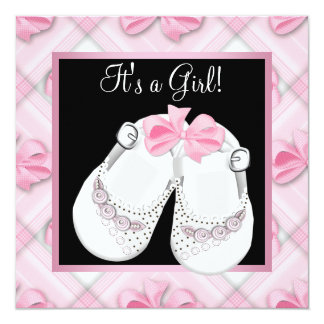 Pink Baby Shoes Pink Black Baby Girl Shower Invitation