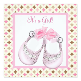 Pink Baby Shoes Pink Brown Baby Girl Shower Card