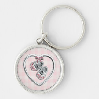 Pink Baby Shoes Silver-Colored Round Keychain