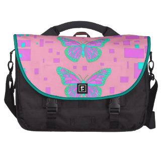 Pink Baby Shower Blue Butterflies by Sharles Laptop Messenger Bag