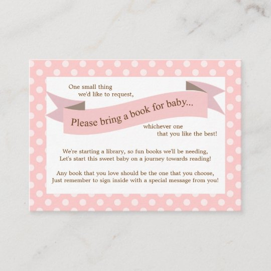 Baby Shower Karte Text.Pink Baby Shower Book Insert Request Card For Girl