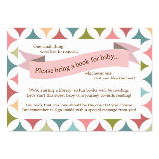Pink Baby Shower Book Insert Request Card for Girl Business Card