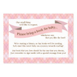 Pink Baby Shower Book Insert Request Card for Girl Business Card Template