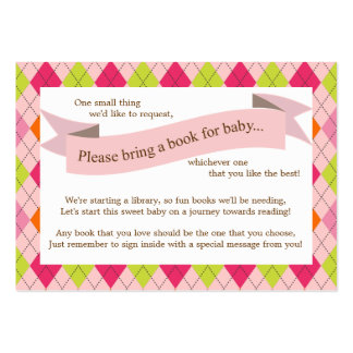 Pink Baby Shower Book Insert Request Card for Girl Business Cards