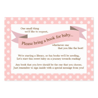 Pink Baby Shower Book Insert Request Card for Girl Large Business Cards (Pack Of 100)