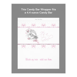 Pink Baby Shower Candy Bar Wrapper