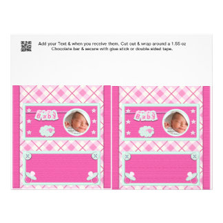 "Pink Baby shower Candy Bar Wrappers Party Favors 8.5"" X 11"" Flyer"
