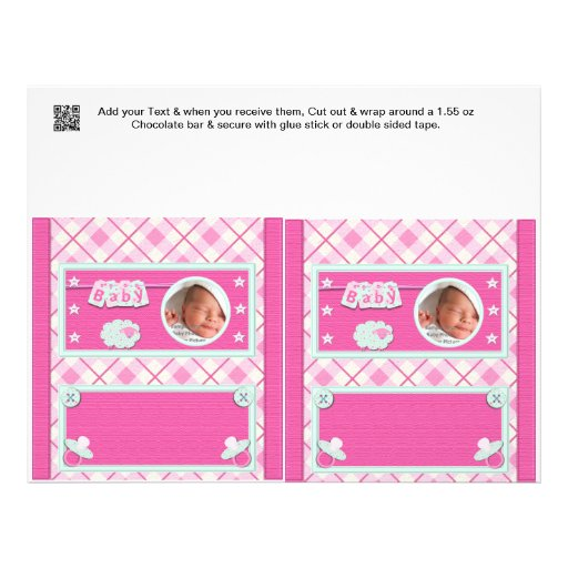 pink baby shower candy bar wrappers party favors custom flyer zazzle