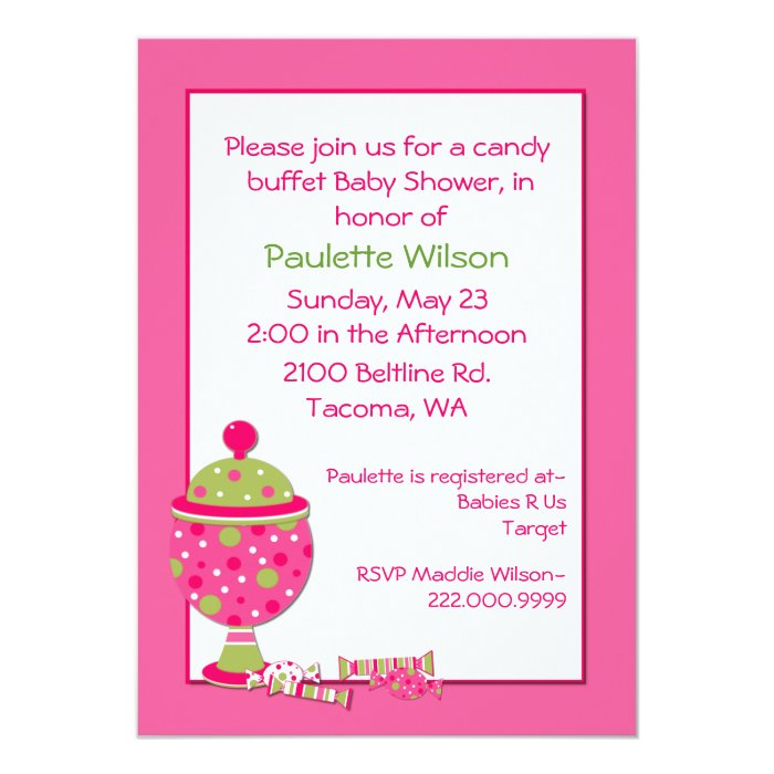 pink baby shower candy buffet invitation zazzle