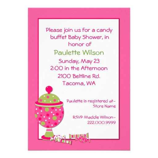 pink baby shower candy buffet invitation 5 x 7 invitation card