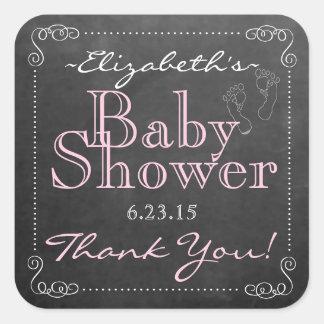 Pink Baby Shower Chalkboard Square Sticker