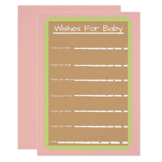 Pink Baby Shower Chic Nature Wishes for Baby Card