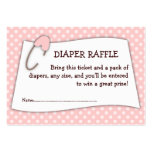 Pink Baby Shower Diaper Raffle Ticket Insert Large Business Cards (Pack Of 100)