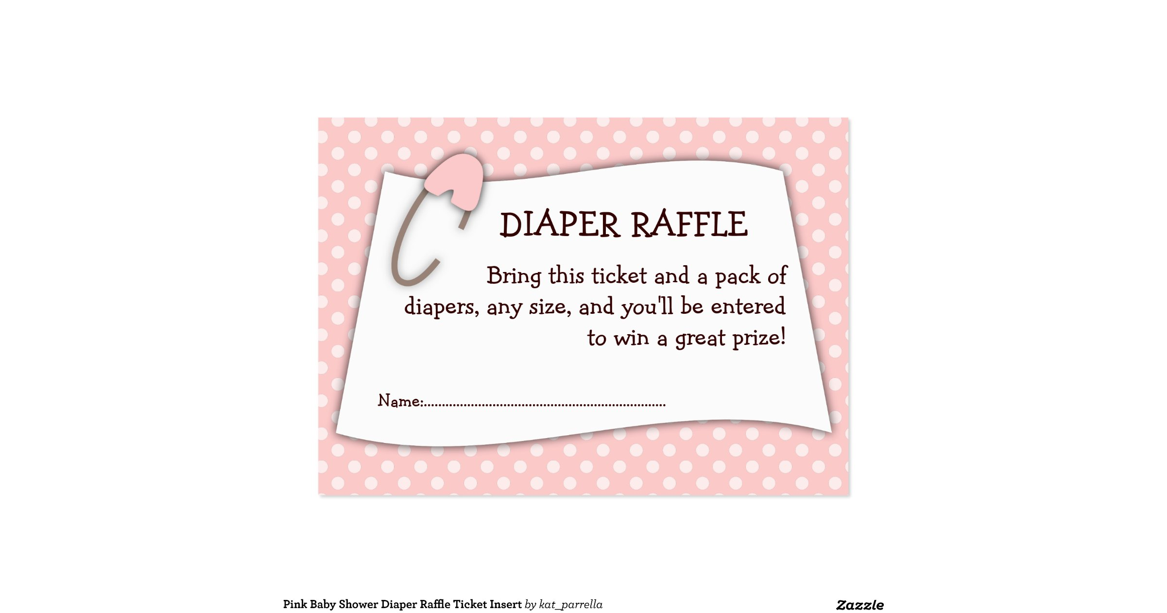 pink baby shower diaper raffle ticket insert large business cards