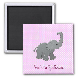 pink baby shower elephant 2 inch square magnet