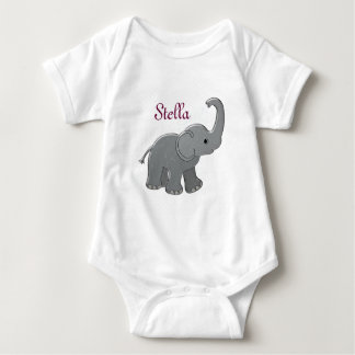 pink baby shower elephant baby bodysuit