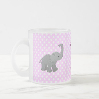 pink baby shower elephant frosted glass coffee mug