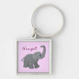 pink baby shower elephant keychain