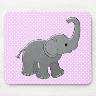 pink baby shower elephant mouse pad