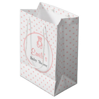 Pink Baby Shower Favor Bag - Girl Teddy Bear Medium Gift Bag