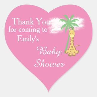 Pink baby shower giraffe thank you stickers