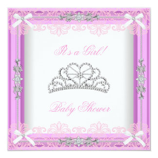 Pink Baby Shower Girl Princess Tiara Lace Card