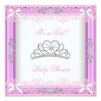 Pink Baby Shower Girl Princess Tiara Lace Card