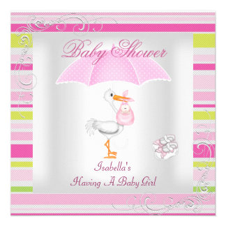 Pink Baby Shower Girl Umbrella Candy Stripe Custom Invitations