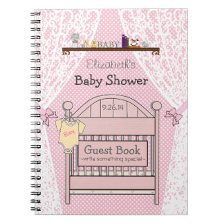 pink baby shower guest book journals