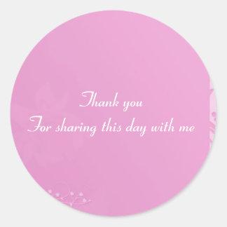 Pink baby shower invitation classic round sticker