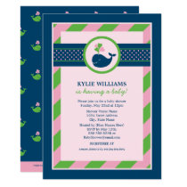 Pink Baby Shower Invitation   Navy Nautical Whale