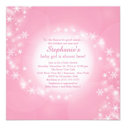 pink baby shower invitation winter snowflakes