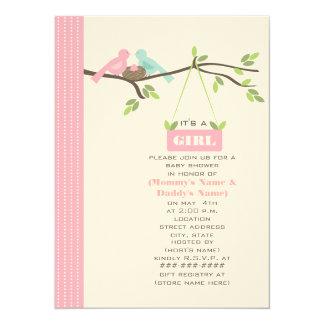 Pink Baby Shower Mommy & Daddy Birds & Nest Card